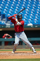 Joshua Baez (20) of Dexter Southfield HS in Boston, MA playing for the Boston Red Sox scout team during the East Coast Pro Showcase at the Hoover Met Complex on August 4, 2020 in Hoover, AL. (Brian Westerholt/Four Seam Images)