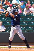 Jose Bonilla #9 of the Wilmington Blue Rocks at bat against the Winston-Salem Dash at BB&T Ballpark on April 24, 2011 in Winston-Salem, North Carolina.   Photo by Brian Westerholt / Four Seam Images