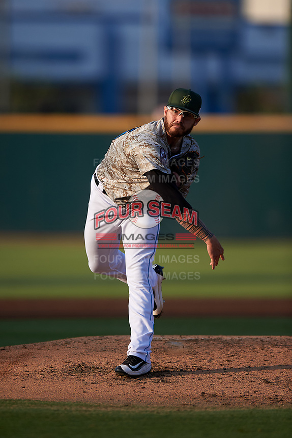Inland Empire 66ers starting pitcher Sean Isaac (26) follows through on his delivery during a California League game against the Lancaster JetHawks at San Manuel Stadium on May 19, 2018 in San Bernardino, California. Inland Empire defeated Lancaster 9-6. (Zachary Lucy/Four Seam Images)