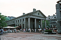 Boston:  Faneuil Hall Markets (formerly Quincy Market), east end, 1825.  Re-use 1976.  Note resemblance to St. Paul's, Covent Gardens.  Photo '88.