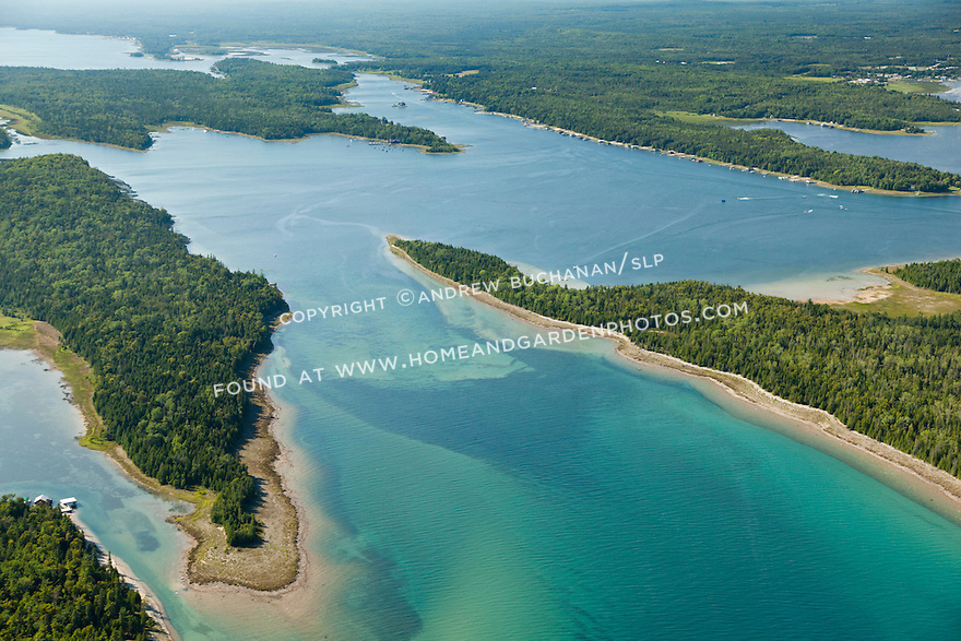 Middle Entrance of Les Cheneaux Area of Lake Huron shoreline near Cedarville, MI with Little LaSalle Island (right) and Marquette Island. (left), looking in to Muskie Bay and Snows Channel