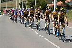 Jumbo-Visma lead the peloton during Stage 16 of La Vuelta d'Espana 2021, running 180km from Laredo to Santa Cruz de Bezana, Spain. 31st August 2021.    <br /> Picture: Luis Angel Gomez/Photogomezsport   Cyclefile<br /> <br /> All photos usage must carry mandatory copyright credit (© Cyclefile   Luis Angel Gomez/Photogomezsport)