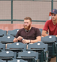 Los Angeles Angels 2021 1st round pick Sam Bachman watches an Arizona League game between the Angels and Reds at Tempe Diablo Stadium on July 22, 2021 in Tempe, Arizona (Bill Mitchell)