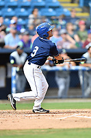 Asheville Tourists second baseman Jeff Moberg (3) swings at a pitch during game one of a double header against the Columbia Fireflies at McCormick Field on August 4, 2018 in Asheville, North Carolina. The Tourists defeated the Fireflies 5-1. (Tony Farlow/Four Seam Images)