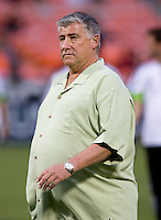 Seattle Sounders head coach Sigi Schmid  watches his team before the Lamar Hunt U.S. Open Cup at RFK Stadium in Washington, DC.  The Seattle Sounders defeated DC United, 2-1.