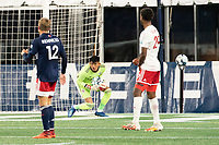FOXBOROUGH, MA - OCTOBER 16: Carlos Avilez #1 of North Texas SC saves a shot on goal during a game between North Texas SC and New England Revolution II at Gillette Stadium on October 16, 2020 in Foxborough, Massachusetts.