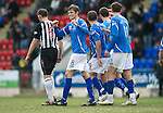 St Johnstone v Dunfermline....25.02.12   SPL.Murray Davidson celebrates his goal.Picture by Graeme Hart..Copyright Perthshire Picture Agency.Tel: 01738 623350  Mobile: 07990 594431