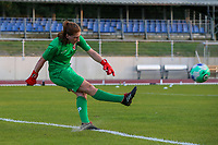 goalkeeper Manon Wallez (24) of Woluwe does a goal kick   during the warm up before a female soccer game between FC Femina White Star Woluwe and KAA Gent Ladies on the third match day in the 2021 - 2022 season of Belgian Scooore Womens Super League , Friday 3 th of September 2021  in Woluwe , Belgium . PHOTO SPORTPIX   SEVIL OKTEM