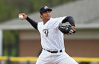 Empire State Yankees pitcher Nelson Figueroa #20 during a game against the Norfolk Tides at Dwyer Stadium on April 22, 2012 in Batavia, New York.  Empire State defeated Norfolk 6-5, the Yankees are playing all their games on the road this season as their stadium gets renovated.  (Mike Janes/Four Seam Images)