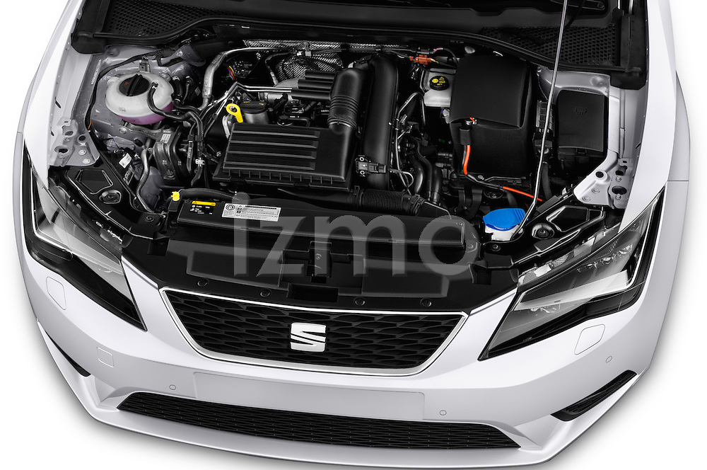 Car Stock 2015 Seat Leon Style 5 Door Hatchback Engine  high angle detail view
