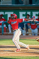 Johan Sala (27) of the Orem Owlz at bat against the Ogden Raptors at Lindquist Field on July 27, 2019 in Ogden, Utah. The Raptors defeated the Owlz 14-1. (Stephen Smith/Four Seam Images)
