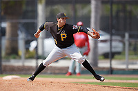 Pittsburgh Pirates pitcher Julio Eusebio (45) delivers a pitch during a minor league Spring Training game against the Philadelphia Phillies on March 24, 2017 at Carpenter Complex in Clearwater, Florida.  (Mike Janes/Four Seam Images)