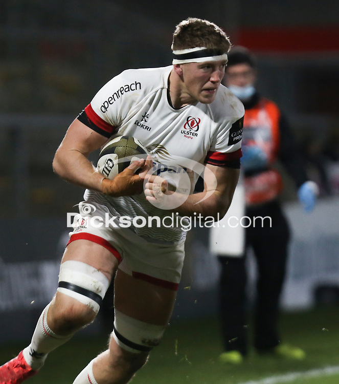 2nd January 2021 | Ulster vs Munster <br /> <br /> Matty Rea is tackled by Chris Cloete during the PRO14 Round 10 clash between Ulster Rugby and Munster Rugby at the Kingspan Stadium, Ravenhill Park, Belfast, Northern Ireland. Photo by John Dickson/Dicksondigital