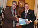 """Litter Strategy Awards 2013 : Councillor Craig R Martin presents the """"Busiest Litter Buster"""" award to Graham Stirling."""