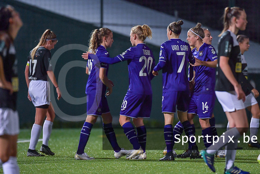 Anderlecht players celebrate goal of Anderlecht forward Jarne Teulings (16) (L) during a female soccer game between RSC Anderlecht Dames and Eendracht Aalst Ladies  on the fourth matchday of the 2020 - 2021 season of Belgian Womens Super League , Tuesday 13 th of October 2020  in ANDERLECHT , Belgium . PHOTO SPORTPIX.BE | SPP | STIJN AUDOOREN