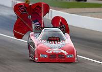 Mar 29, 2014; Las Vegas, NV, USA; NHRA funny car driver Gary Densham during qualifying for the Summitracing.com Nationals at The Strip at Las Vegas Motor Speedway. Mandatory Credit: Mark J. Rebilas-