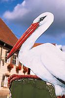 Europe/France/Alsace/67/Bas-Rhin/La Petite Pierre: Détail enseigne représentant une cigogne
