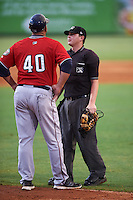 Fort Myers Miracle manager Jeff Smith (40) gets an explanation of a call from umpire Jordan Johnson during a game against the Bradenton Marauders on August 3, 2016 at McKechnie Field in Bradenton, Florida.  Bradenton defeated Fort Myers 9-5.  (Mike Janes/Four Seam Images)