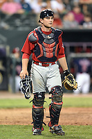 Oklahoma City RedHawks catcher Max Stassi (10) watches the play during a game against the Memphis Redbirds on May 23, 2014 at AutoZone Park in Memphis, Tennessee.  Oklahoma City defeated Memphis 12-10.  (Mike Janes/Four Seam Images)