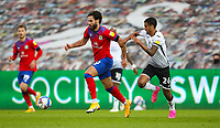 31st October 2020; Liberty Stadium, Swansea, Glamorgan, Wales; English Football League Championship Football, Swansea City versus Blackburn Rovers; Ben Brereton of Blackburn Rovers jostles for possession with Kyle Naughton of Swansea City