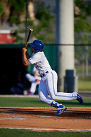 Dunedin Blue Jays Ryan Noda (19) bats during a Florida State League game against the Lakeland Flying Tigers on April 18, 2019 at Jack Russell Memorial Stadium in Clearwater, Florida.  Dunedin defeated Lakeland 6-2.  (Mike Janes/Four Seam Images)