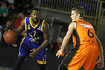 Montakit Fuenlabrada's Ludde Hakanson (r) and Herbalife Gran Canaria's Bo McCalebb during Eurocup, Top 16, Round 2 match. January 10, 2017. (ALTERPHOTOS/Acero)