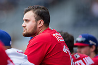 Rowdy Tellez (21) of the Buffalo Bisons watches from the top step of the dugout during the game against the Durham Bulls at Durham Bulls Athletic Park on April 30, 2017 in Durham, North Carolina.  The Bisons defeated the Bulls 6-1.  (Brian Westerholt/Four Seam Images)