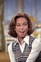 Mary Tyler Moore on the set of the Mary Tyler Moore Show, Season 4, 1974, CBS Studios, Los Angeles. Photo by John G. Zimmerman.