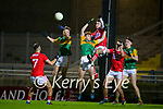 William Shine, Kerry and Cian McMahon, Kerry in action against Daragh Murray, Cork during the Munster Minor Semi-Final between Kerry and Cork in Austin Stack Park on Tuesday evening.