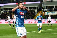 Arkadiusz Milik of Napoli celebrates after scoring a goal<br /> Parma 24-02-2019 Ennio Tardini <br /> Football Serie A 2018/2019 Parma - Napoli <br /> Foto Image Sport / Insidefoto