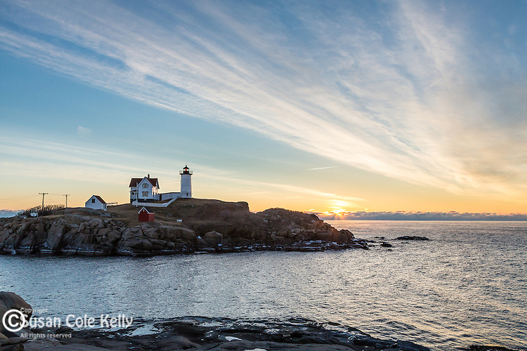 A cold winter sunrise at Nubble Light, York, Maine, USA