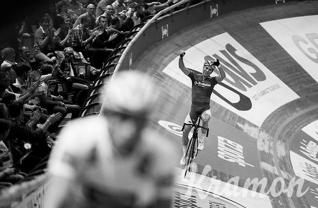 Moreno De Pauw (BEL) celebrates his track record 500m run<br /> <br /> 2016 Gent 6<br /> day 1