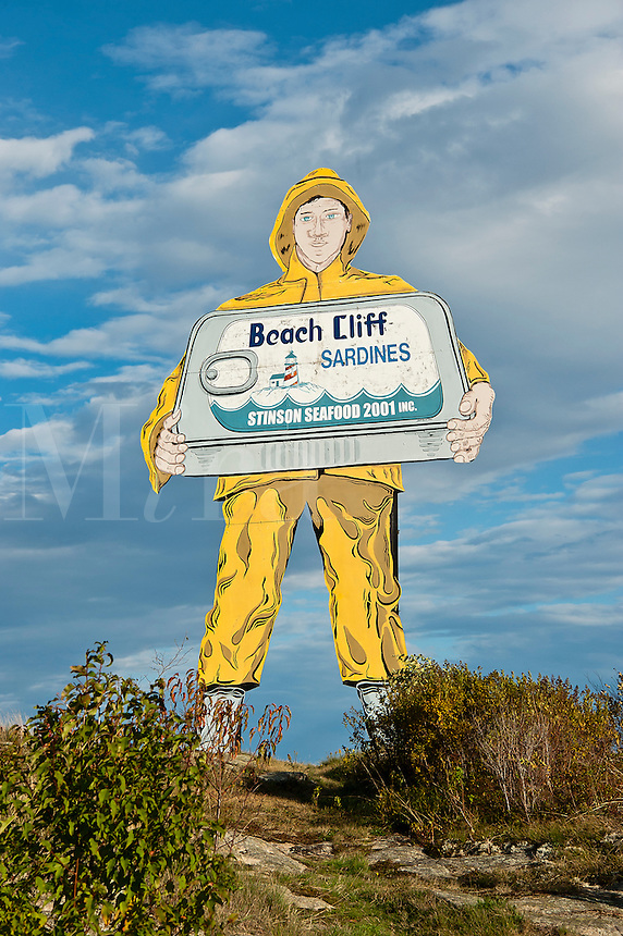 Huge Beach Cliff Sardine sign, Winter Harbor, Maine, ME, USA