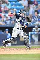 Columbia Fireflies catcher Scott Manea (25) throws to second base during a game against the Asheville Tourists at McCormick Field on April 13, 2018 in Asheville, North Carolina. The Tourists defeated the Fireflies 5-1. (Tony Farlow/Four Seam Images)