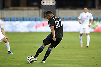 SAN JOSE, CA - OCTOBER 03: Marcos Lopez #27 of the San Jose Earthquakes during a game between Los Angeles Galaxy and San Jose Earthquakes at Earthquakes Stadium on October 03, 2020 in San Jose, California.