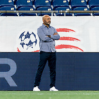 FOXBOROUGH, MA - AUGUST 26: New England Revolution II coach Clint Peay watches during a game between Greenville Triumph SC and New England Revolution II at Gillette Stadium on August 26, 2020 in Foxborough, Massachusetts.