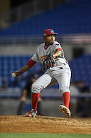 Clearwater Threshers pitcher Ulises Joaquin (45) delivers a pitch during a game against the Dunedin Blue Jays on April 10, 2015 at Florida Auto Exchange Stadium in Dunedin, Florida.  Clearwater defeated Dunedin 2-0.  (Mike Janes/Four Seam Images)