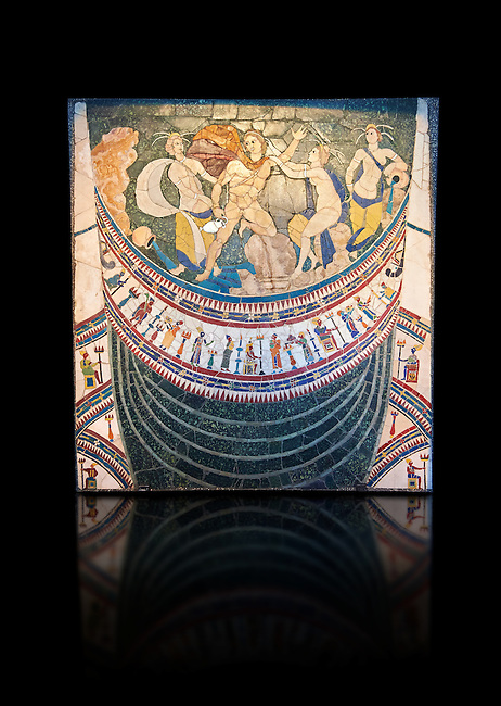 4th Century AD Roman Opus Sectile Mosaic depicting nymphs from the basilica de Giunio Basso .  Museo Nazionale Romano ( National Roman Museum), Rome, Italy. Against a black background.