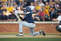 Brandon White (46) of the West Virginia Mountaineers squares to bunt against the Wake Forest Demon Deacons in Game Four of the Winston-Salem Regional in the 2017 College World Series at David F. Couch Ballpark on June 3, 2017 in Winston-Salem, North Carolina. The Demon Deacons walked-off the Mountaineers 4-3. (Brian Westerholt/Four Seam Images)