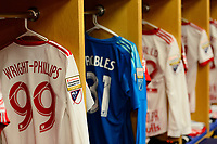 Harrison, NJ - Tuesday April 10, 2018: New York Red Bulls locker room, Bradley Wright-Phillips prior to leg two of a  CONCACAF Champions League semi-final match between the New York Red Bulls and C. D. Guadalajara at Red Bull Arena. C. D. Guadalajara defeated the New York Red Bulls 0-0 (1-0 on aggregate).