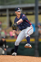 Rome Braves starting pitcher Mike Soroka (54) in action against the Hickory Crawdads at L.P. Frans Stadium on May 12, 2016 in Hickory, North Carolina.  The Braves defeated the Crawdads 3-0.  (Brian Westerholt/Four Seam Images)