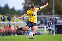Aidan Morgan kicks for goal during the 2021 Bunnings Super Rugby Aotearoa Under-20 rugby match between the Hurricanes and Highlanders at Owen Delaney Park in Taupo, New Zealand on Tuesday, 14 April 2021. Photo: Dave Lintott / lintottphoto.co.nz