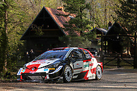 25th April 2021; Zagreb, Croatia; WRC Rally of Croatia, Final stages; Sebastien Ogier-Toyota Yaris WRC on his way to the win
