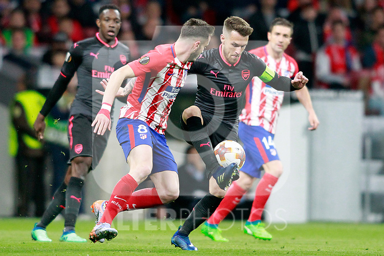 Atletico de Madrid's Saul Niguez (l) and Arsenal FC's Aaron Ramsey during Europa League Semi-finals, 2ndt leg. May 3,2018. (ALTERPHOTOS/Acero)