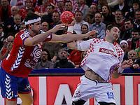 Blazenko Lackovic (R) of Croatia in action during men`s EHF EURO 2012 championship semifinal handball game between Serbia and Croatia in Belgrade, Serbia, Friday, January 27, 2011.  (photo: Pedja Milosavljevic / thepedja@gmail.com / +381641260959)
