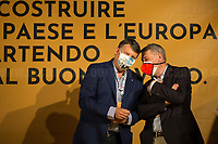 """(From L to R) Pierpaolo Bombardieri, General Secretary of UIL (Italian Labour Union, 3.) & Maurizio Landini, General Secretary of CGIL (Italian General Confederation of Labour, 1.).<br /> <br /> Rome, 29/07/2020. Today, the three main Italian Trade Unions: CGIL (Italian General Confederation of Labour, General Secretary Maurizio Landini, 1.), CISL (Italian Confederation of Workers' Trade Union, General Secretary Anna Maria Furlan, 2.), UIL (Italian Labour Union, General Secretary Pierpaolo Bombardieri, 3.). held a demonstration in Piazza Santi Apostoli called """"La notte per il Lavoro. Ricostruire il Paese e l'Europa partendo dal buon lavoro"""" (The night for work. Rebuilding Italy and Europe from the good work). Given the crisis caused by the pandemic Covid-19 / Coronavirus, the three General Secretaries asked the Government to block layoffs, an extension of the social safety nets until the end of the year, a tax reform and the fight against tax evasion, the private and public national contractual renewals, investments, health, safety at work, Research, culture, tangible and intangible infrastructures, stable work, digitalization, South of Italy, social security, law on non self-sufficiency, social inclusion and solution of open company crises. Moreover, to urge the government to start an urgent discussion to plan the spending strategy that is about to be launched to use the resources of the EU """"Recovery Fund"""".<br /> <br /> Footnotes & Links:<br /> 1. http://cgil.it/ & https://bit.ly/2E1Al5a (Wikipedia)<br /> 2. https://www.cisl.it /& https://bit.ly/2tj5Txa (Wikipedia)<br /> 3. http://www.uil.it/ & https://bit.ly /2Glf88D (Wikipedia)<br /> 09.02.19 CGIL, CISL, UIL - Trade Unions National Demo in Rome #FuturoalLavoro http://bit.do/fG7GK"""