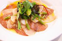 scallops and tuna carpaccio with wild asparagus salad dom a voge cornas rhone france