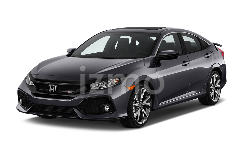 2018 Honda Civic Si 5 Door Sedan angular front stock photos of front three quarter view