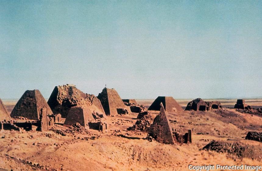 World Civilization:  Meroe/Kush--Pyramids of North Cemetery, 250 B. C. -350 A.D.  Photo '92.