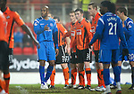 St Johnstone v Dundee United....22.02.11 .Michael Duberry tries to cause problems with the United wall.Picture by Graeme Hart..Copyright Perthshire Picture Agency.Tel: 01738 623350  Mobile: 07990 594431